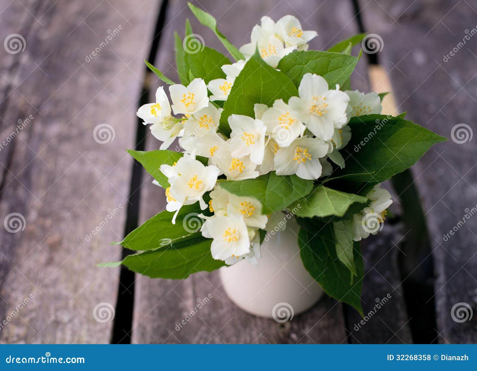 Bunch Of Jasmine Flowers On Wooden Garden Table Stock Photo Image