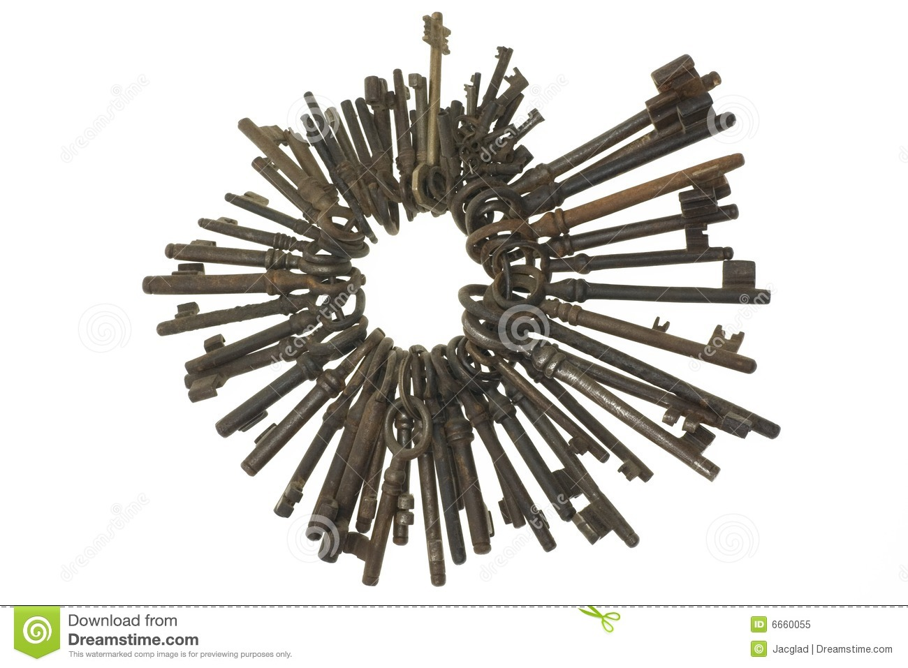 Bunch Of Old Keys Isolated On White Background Stock Image