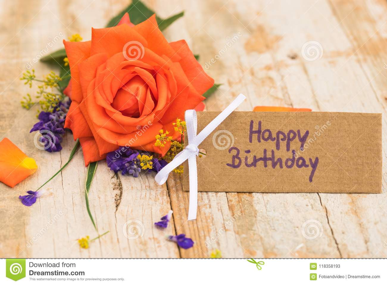 Bunch Of Orange Rose Flower And Happy Birthday Greeting Card
