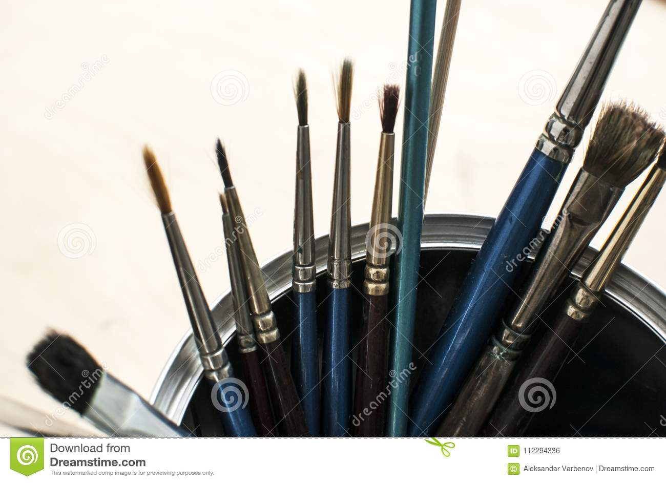 A Bunch Of Paint Brushes Stock Photo Image Of Shadow 112294336