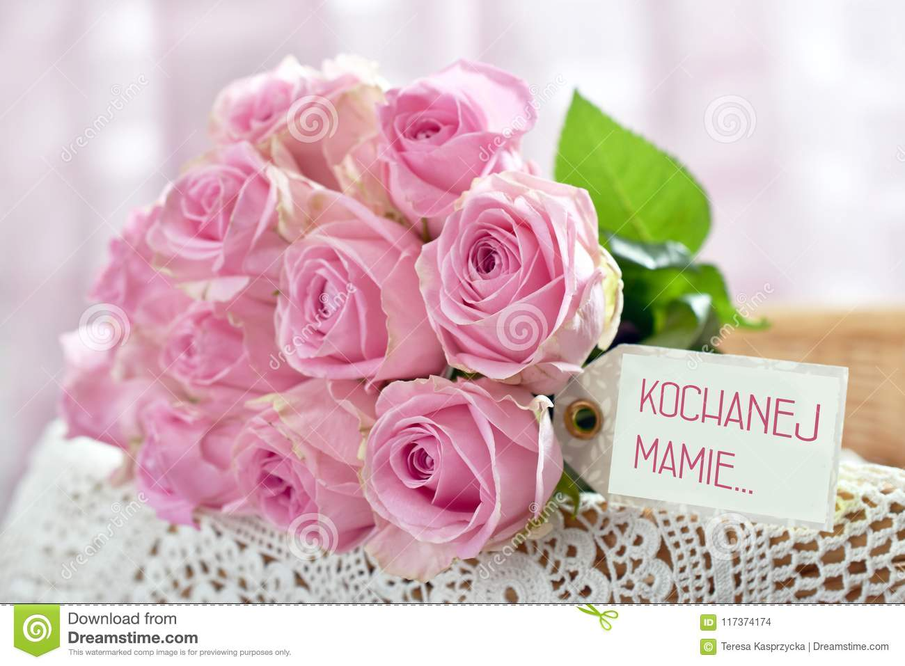 Bunch Of Pink Roses For Mother Day Day In Poland With Text For