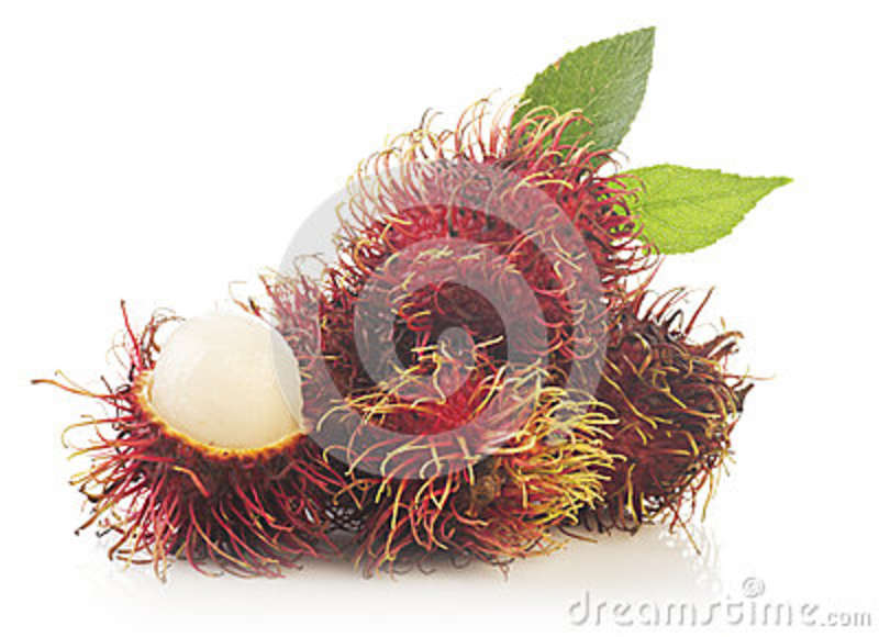 Bunch of rambutan isolated on white background