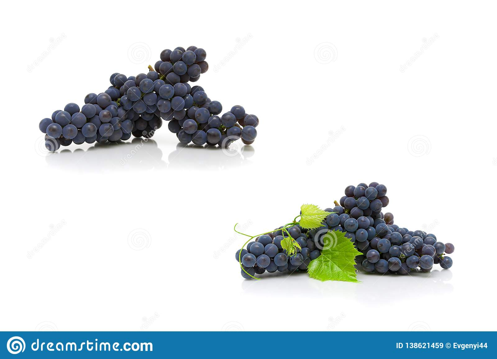 Bunch of ripe dark grapes and green leaves on white background