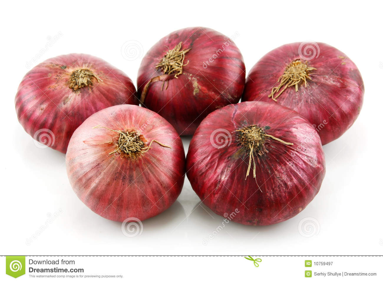 Bunch of Ripe Red Onion Isolated on White
