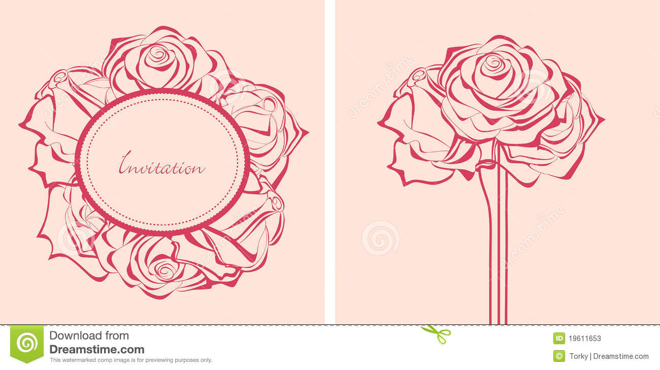 Bunch of roses invitations