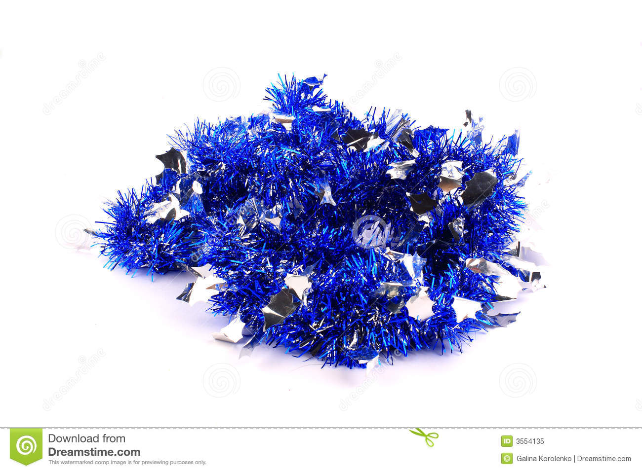 Bunch of silver blue garland royalty free stock photo