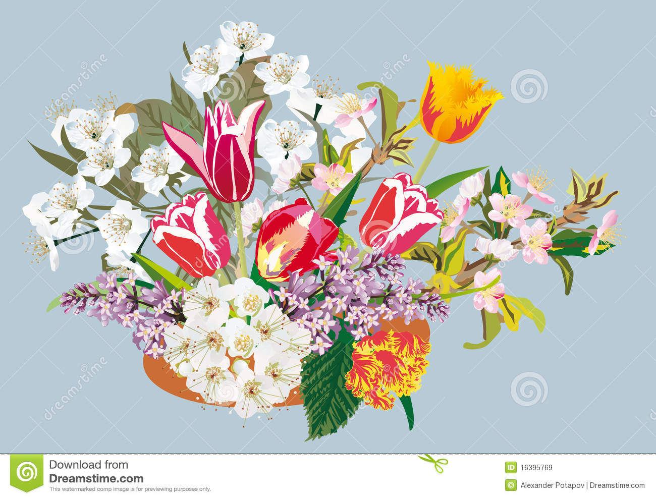 Bunch Of Spring Flower Illustration Stock Vector Illustration Of