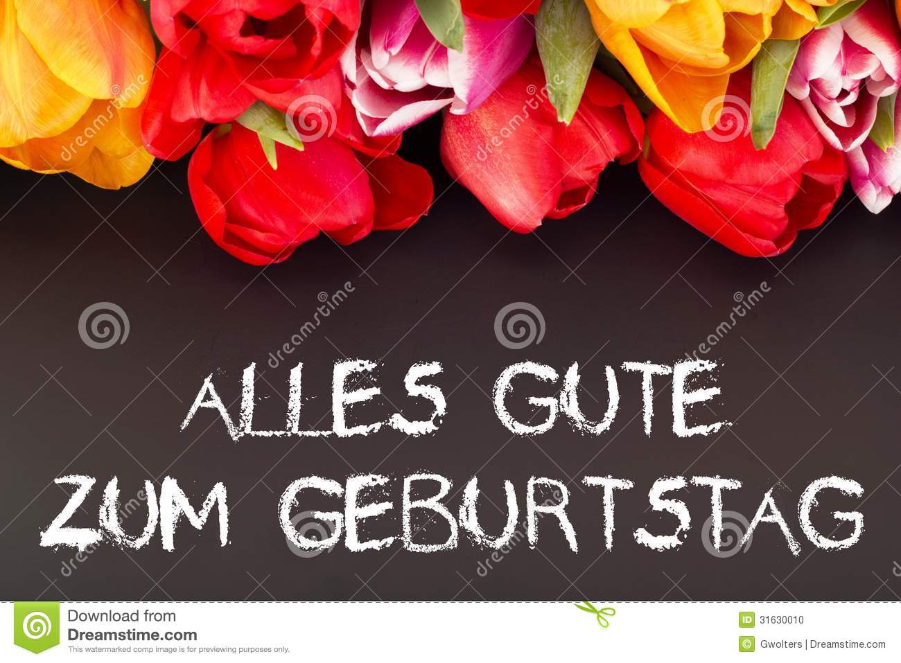 bunch of tulips with blackboard happy birthday in german language