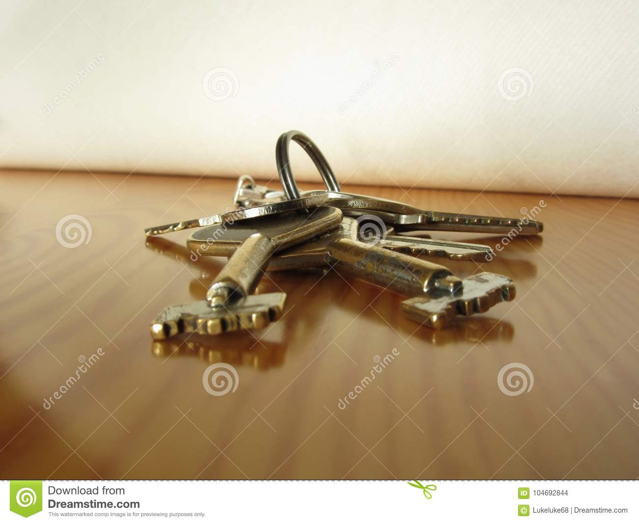 Bunch Of Worn House Keys On Wooden Table Stock Photo ...