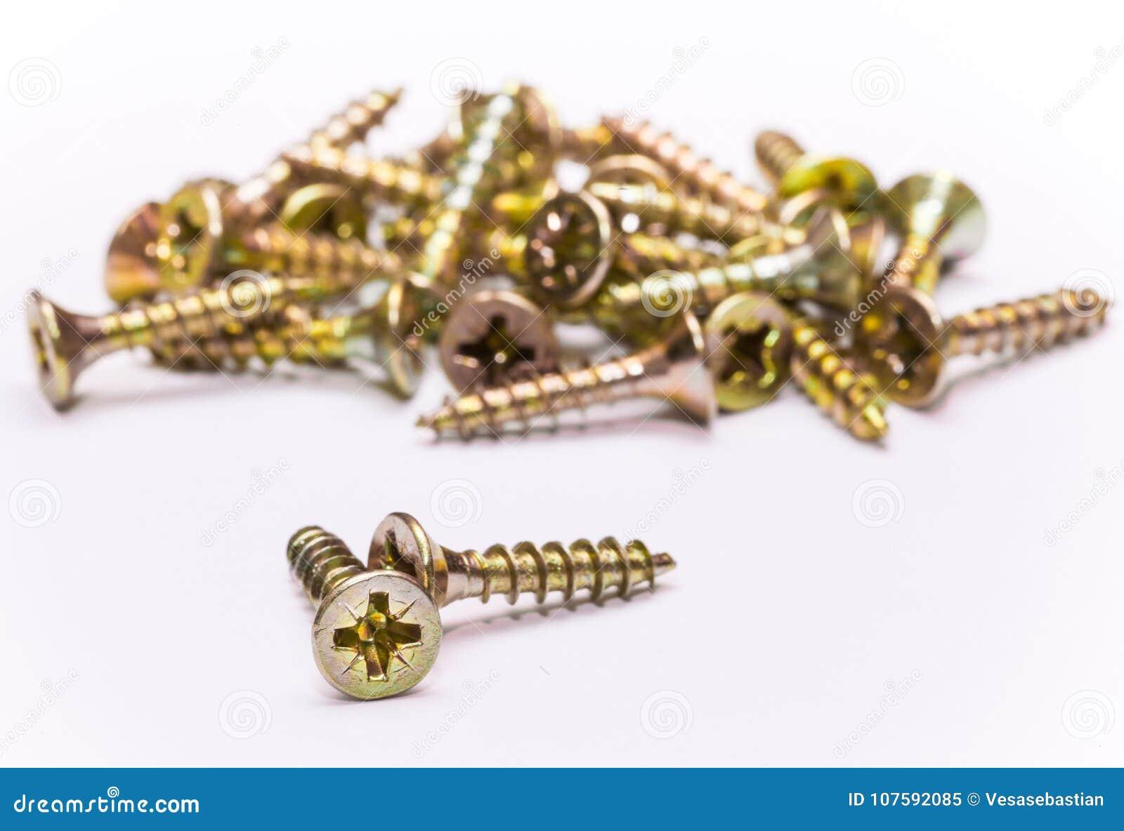 Bunch of yellow zinc coated philips flat head cross screws - fasteners