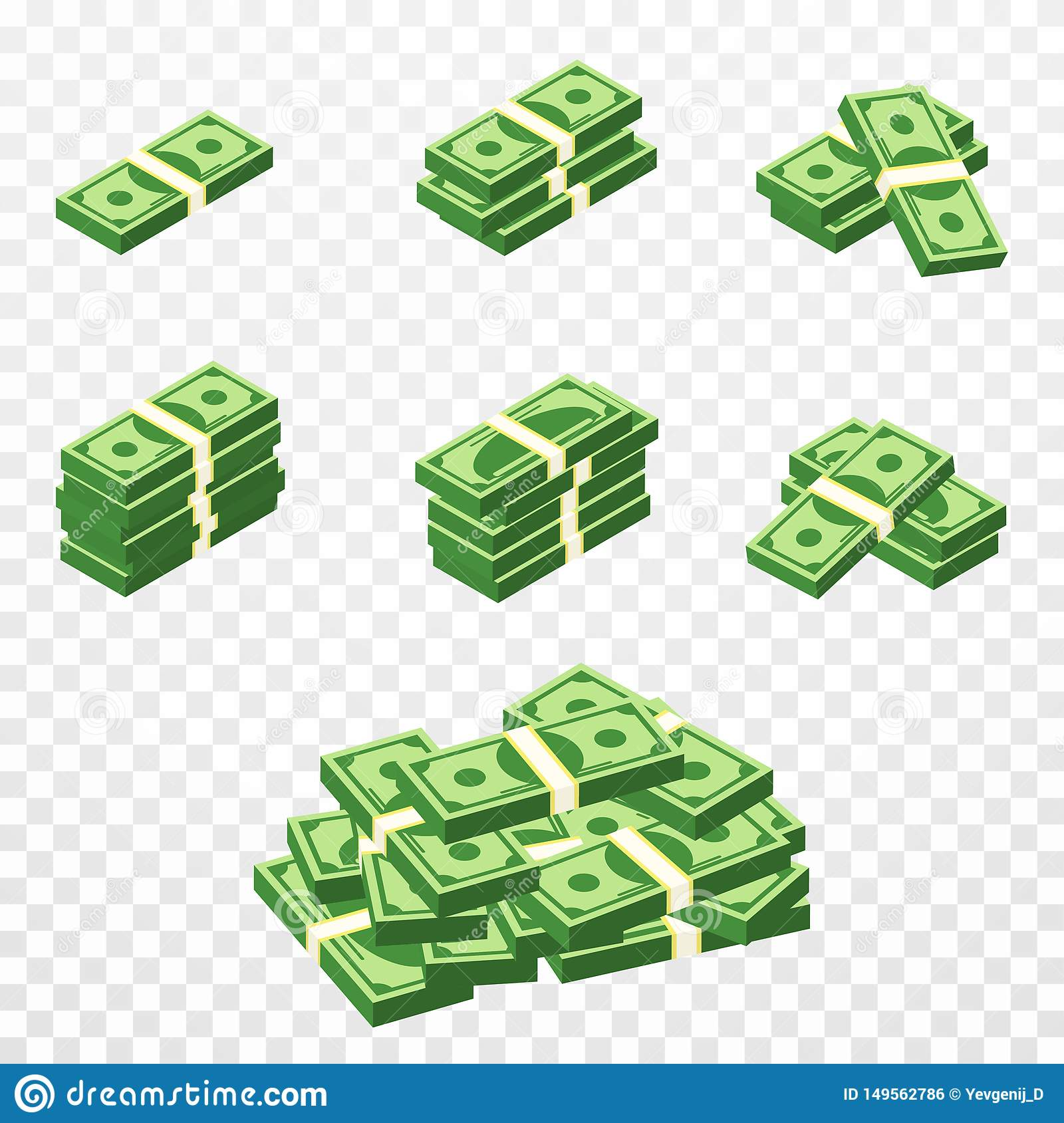 Bunches of money in cartoon 3d style. Set of different packs of dollar bills. Isometric green dollars