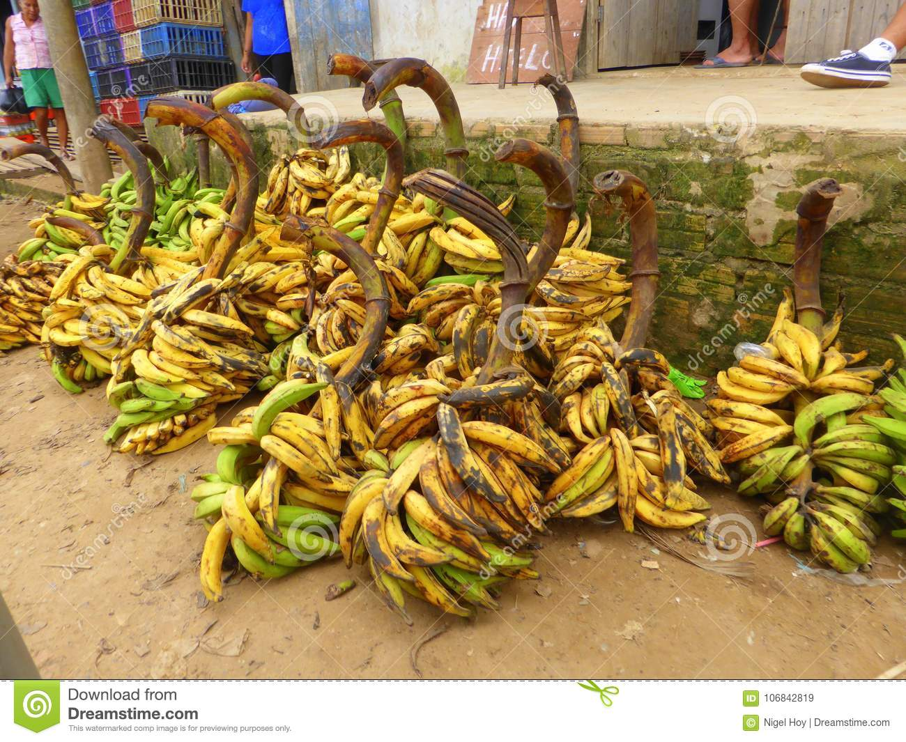 Bunches of over ripe bananas