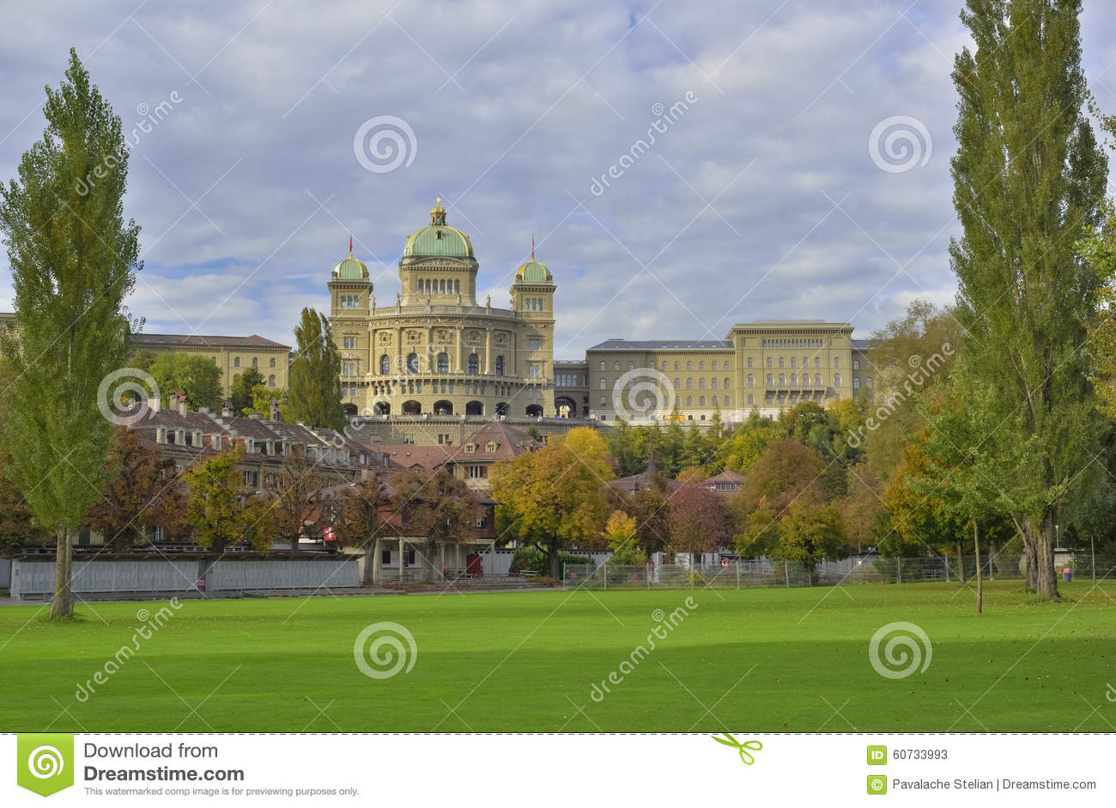 BundesHause (Switzerland parliament) from Freibad Marzili. Bern. Switzerland