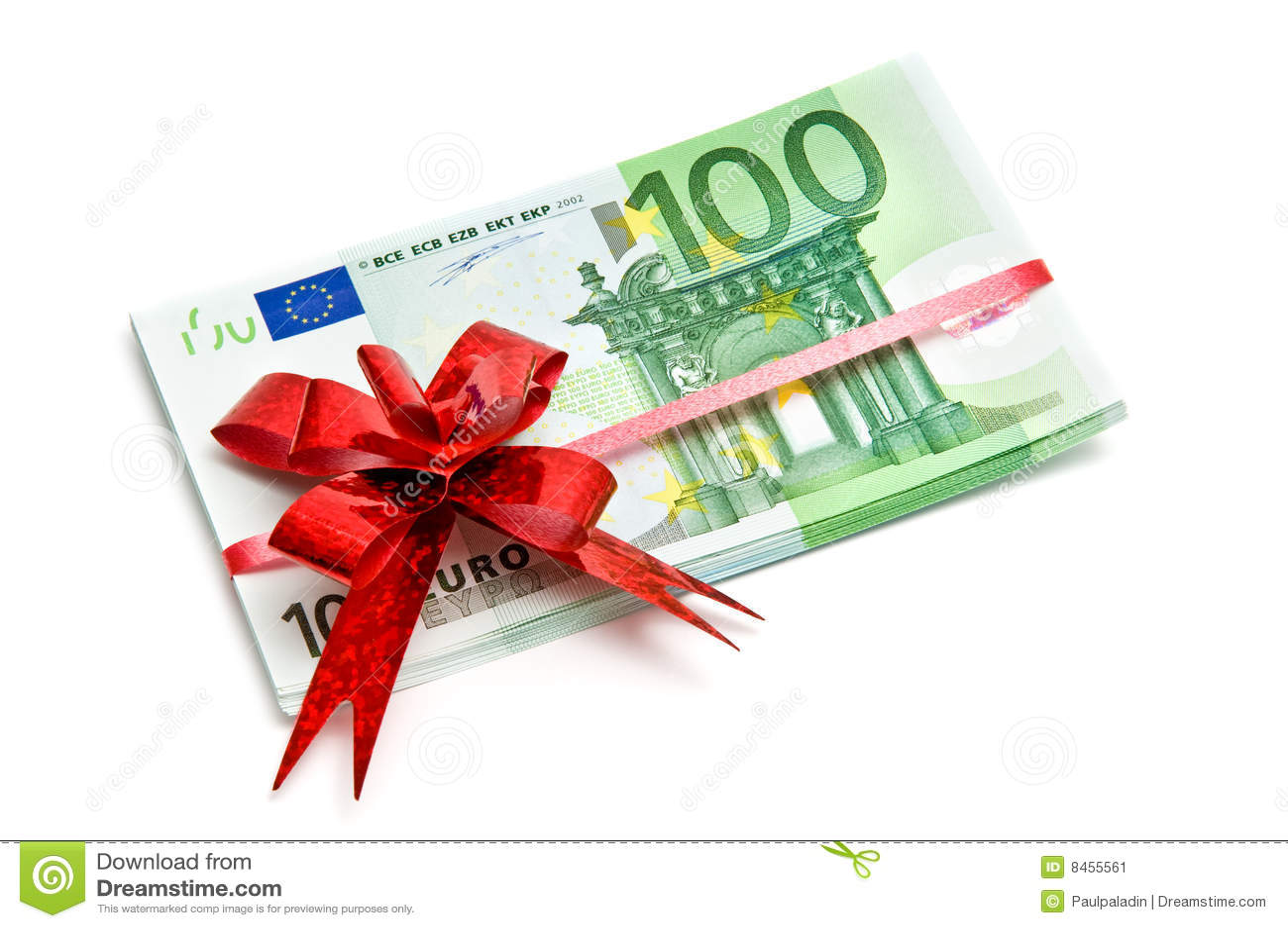 Bundet rött band för sedlar