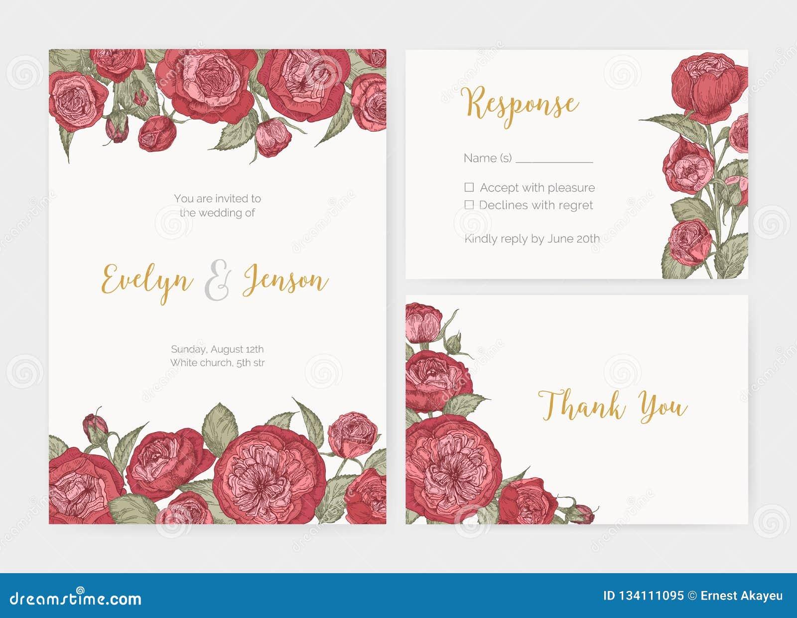 Bundle Of Elegant Wedding Invitation Response Card And Thank You
