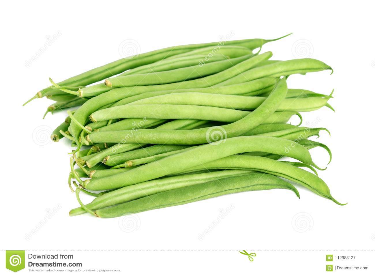 Bundle of fresh green beans isolated on white
