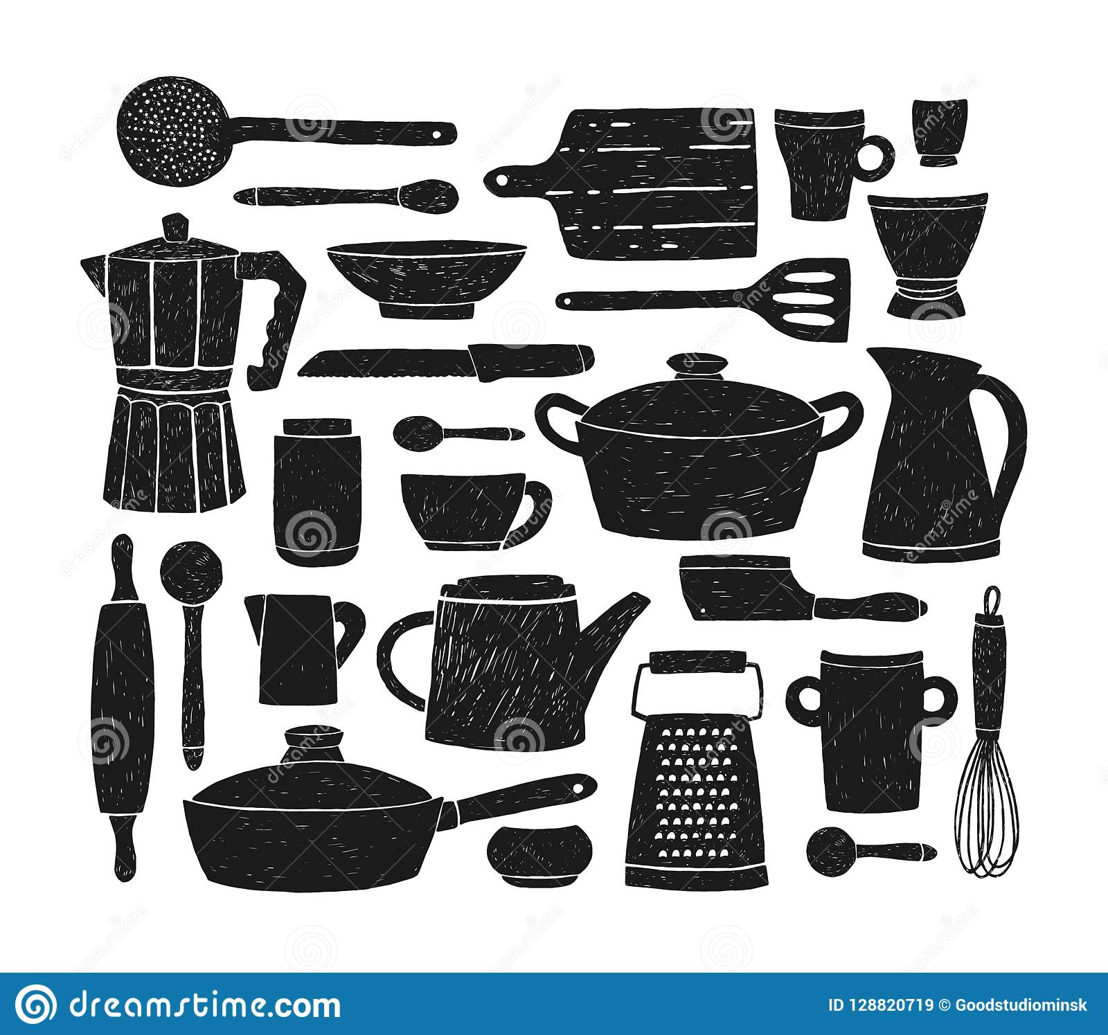 Bundle Of Glassware, Kitchenware And Cookware. Set Of Black ...