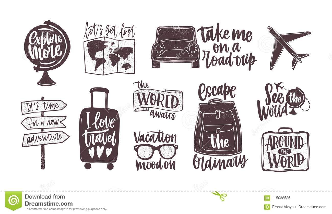 Bundle Of Handwritten Motivational Slogans Decorated With Tourism Travel And Vacation Elements Backpack Suitcase Stock Vector Illustration Of Calligraphy Adventure 115038536