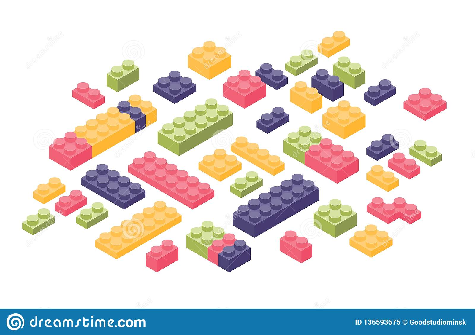 Bundle of isometric colorful constructor details or parts isolated on white background. Plastic interlocking toy bricks