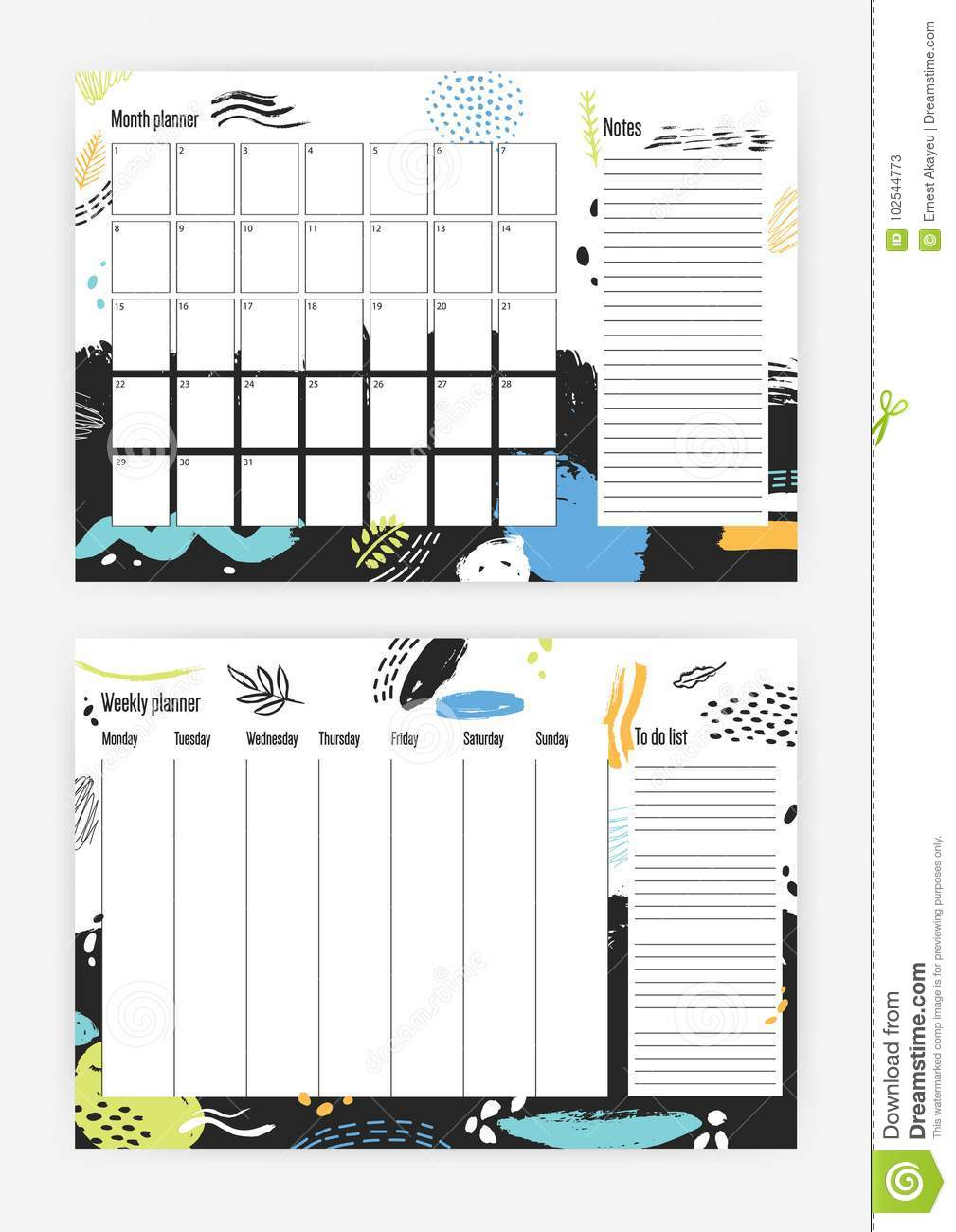 bundle of month and weekly planner templates with bright colored