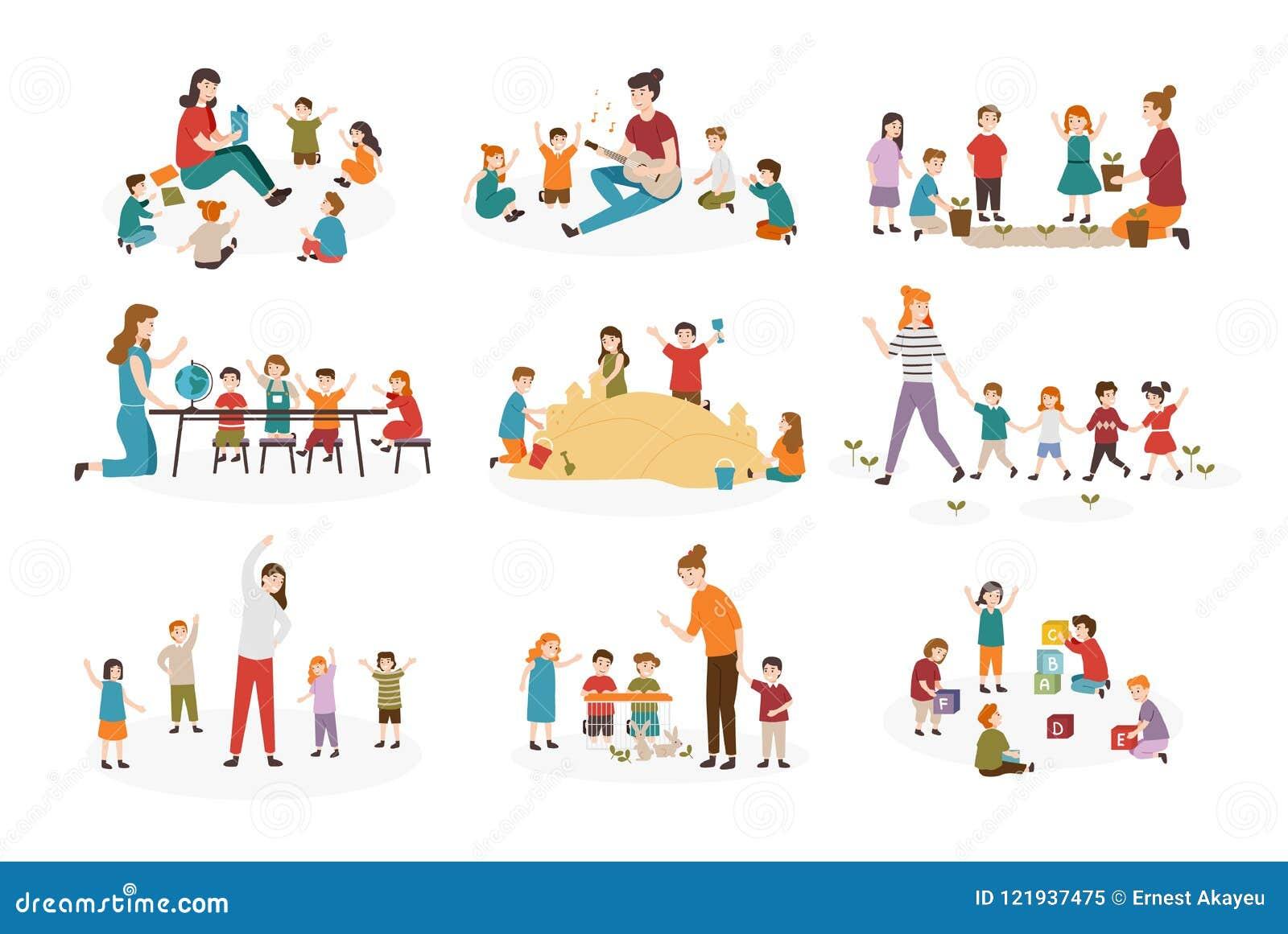 Bundle Of Preschool Or Kindergarten Activities Female Teacher And