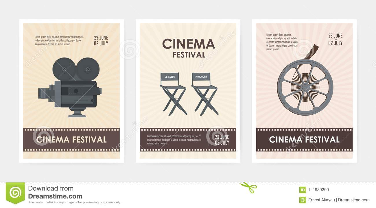 Bundle of vertical flyer or poster templates with retro camera, director and producer chairs, film reel and place for