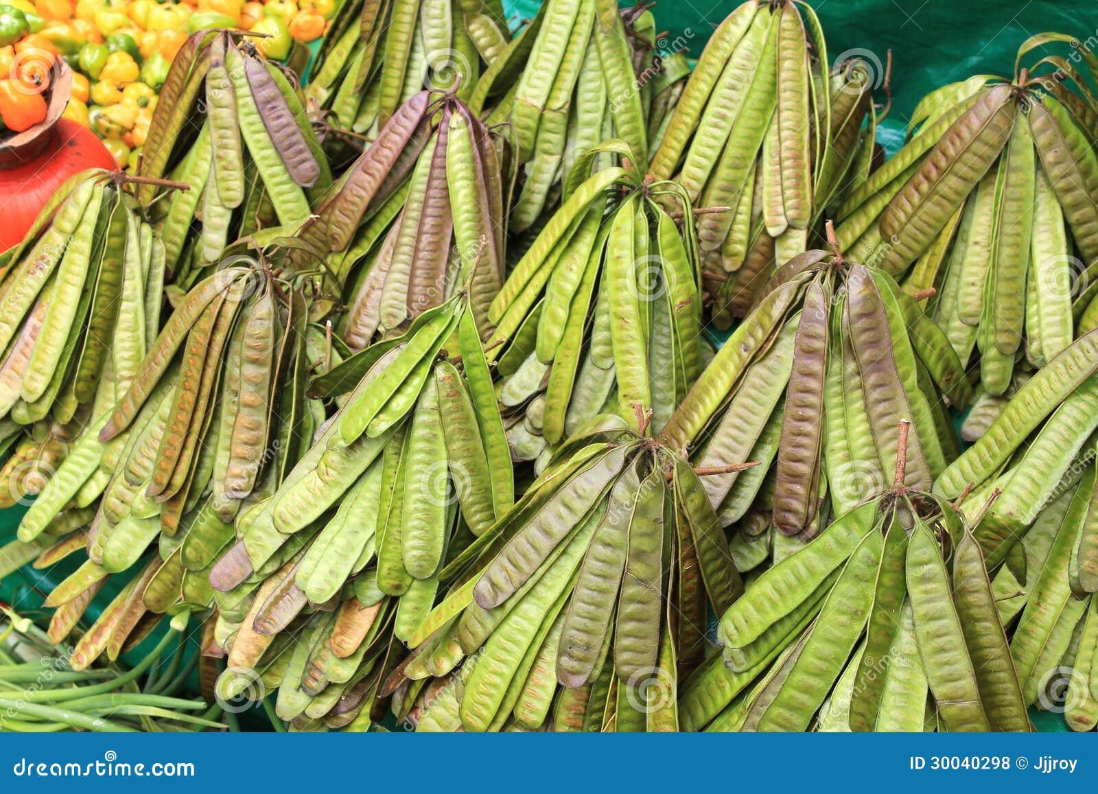 Bundles of bean pods for sale at a farmers market in San Cristobal de ...