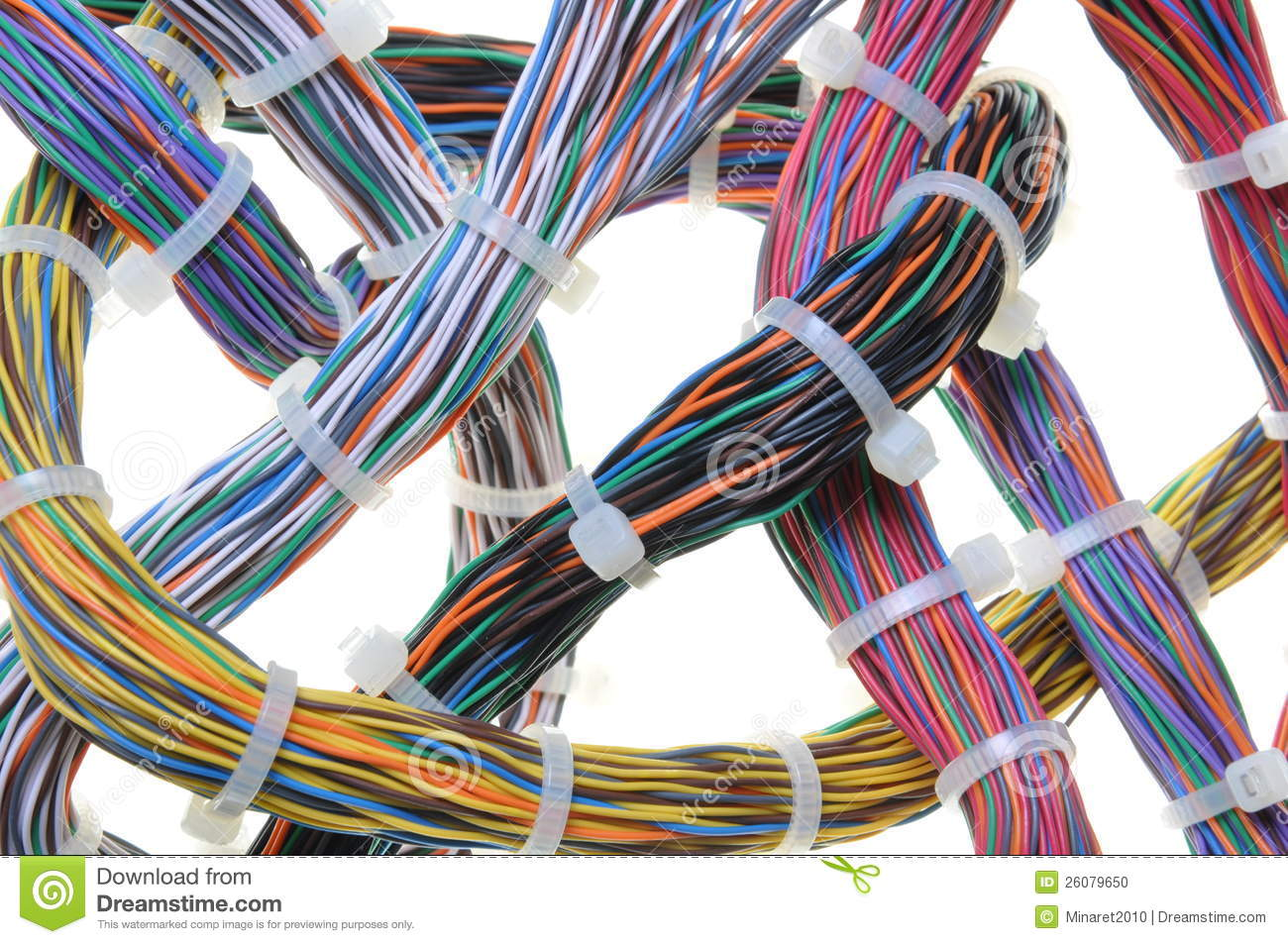 Electrical Wire Bundle : Bundles of network cables stock photo image