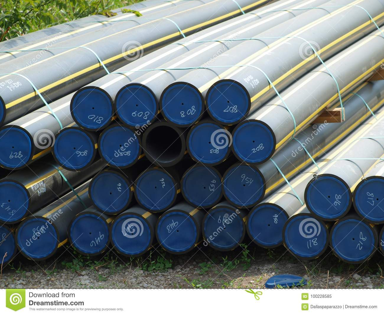 Bundles Of New Gas Pipe Line In Polyflex Material Stock