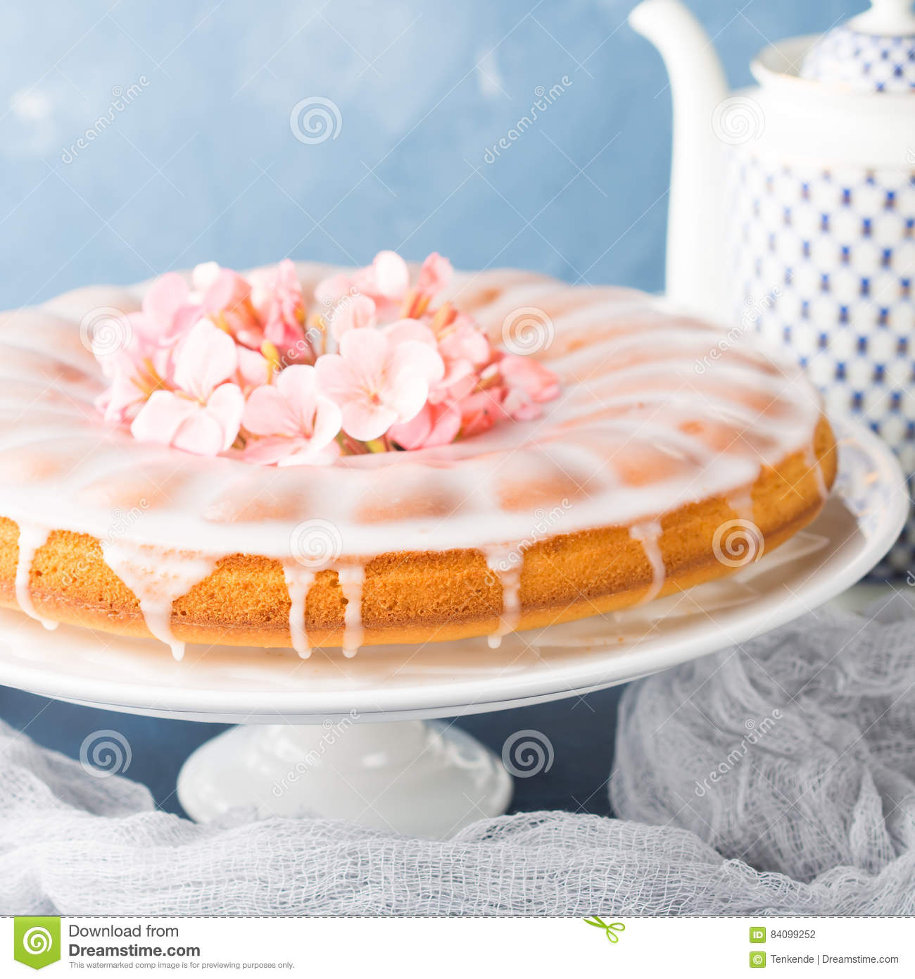 Bundt Cake With Frosting Festive Treat Spring Flowers Stock Photo