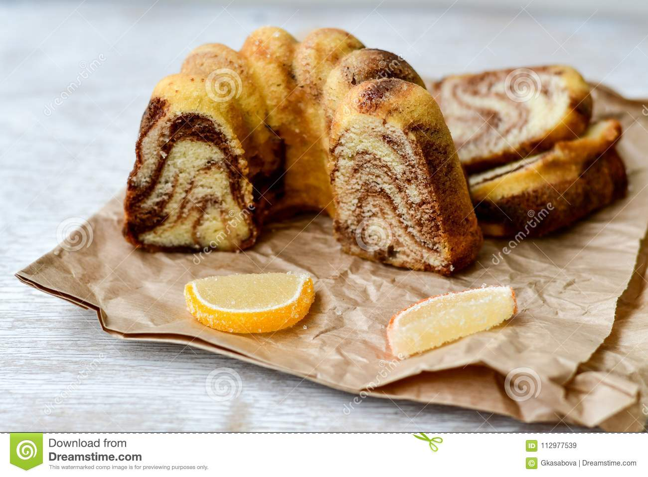 Bundt marble cake, and lemon slices