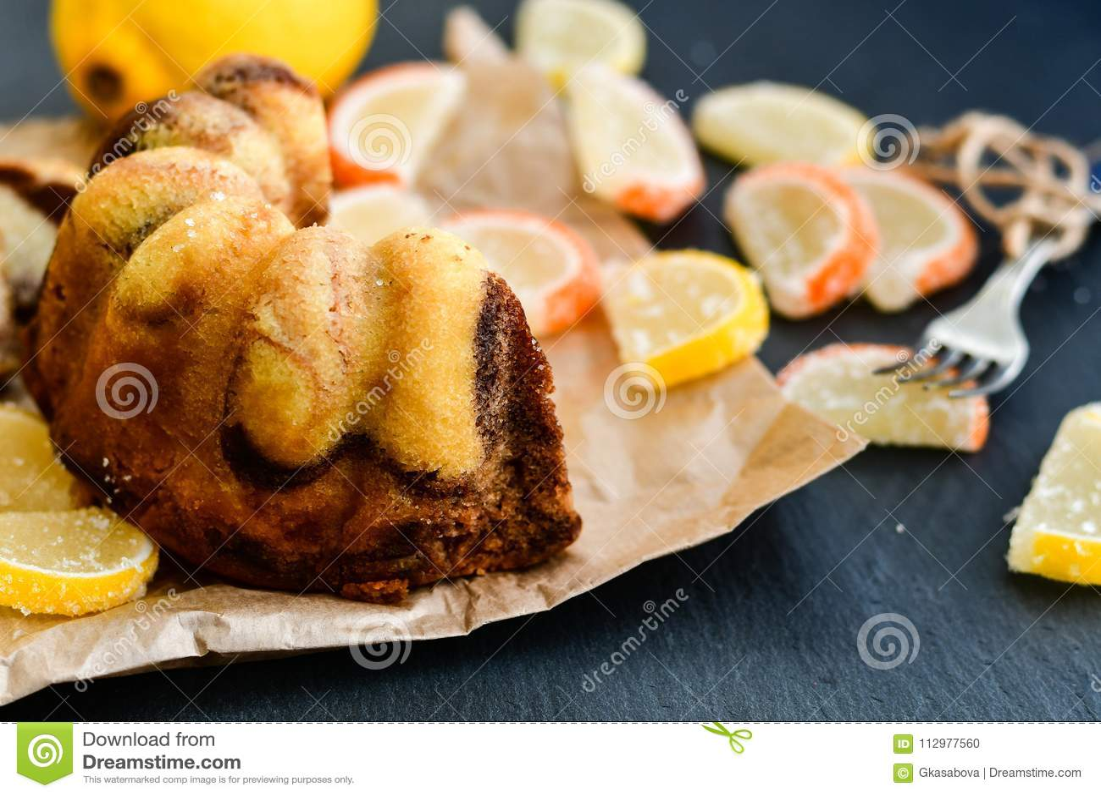 Bundt marble cake, and lemon slices