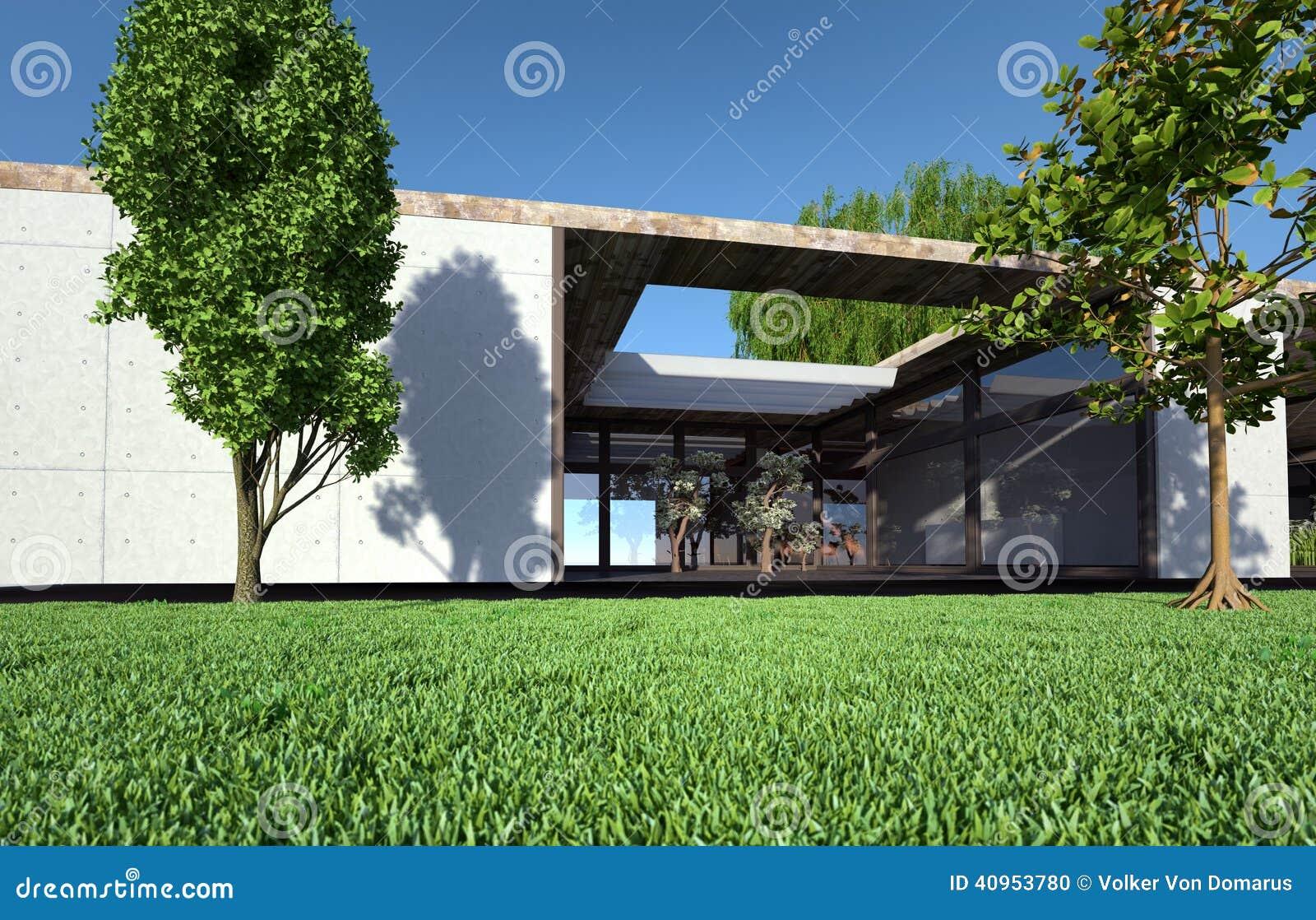 Bungalow Con Il Terrazzo Ed Il Prato Inglese Illustrazione di Stock ...