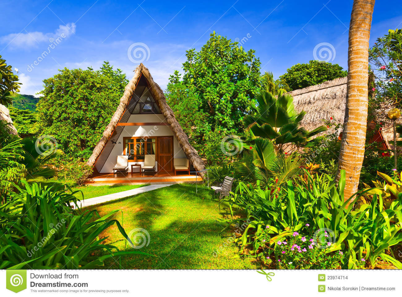 Bungalow In Hotel At Tropical Beach Stock Images