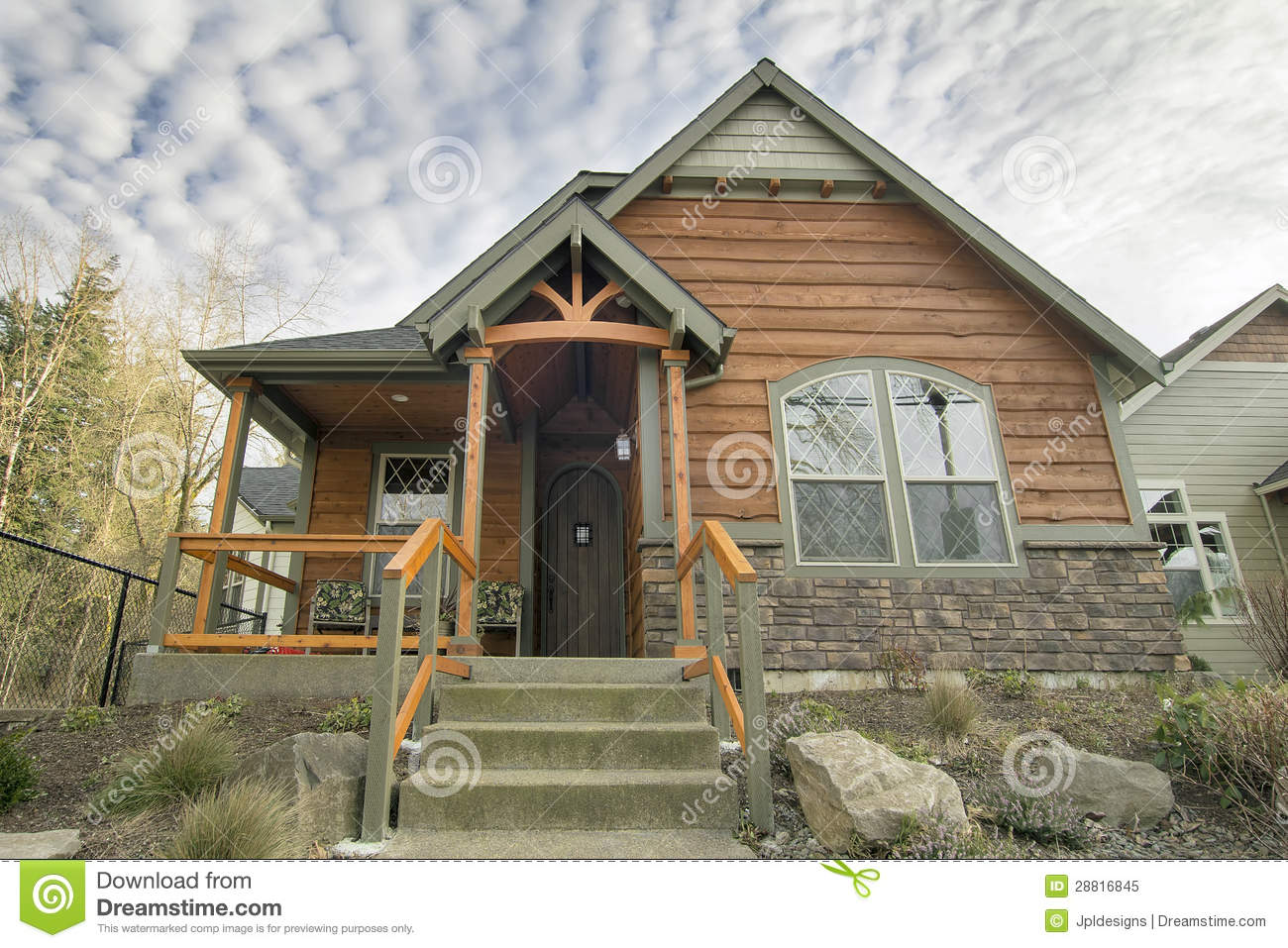 Covered front porch craftsman style home royalty free stock image - Royalty Free Stock Photo Bungalow Covered Front House Landscaping Porch
