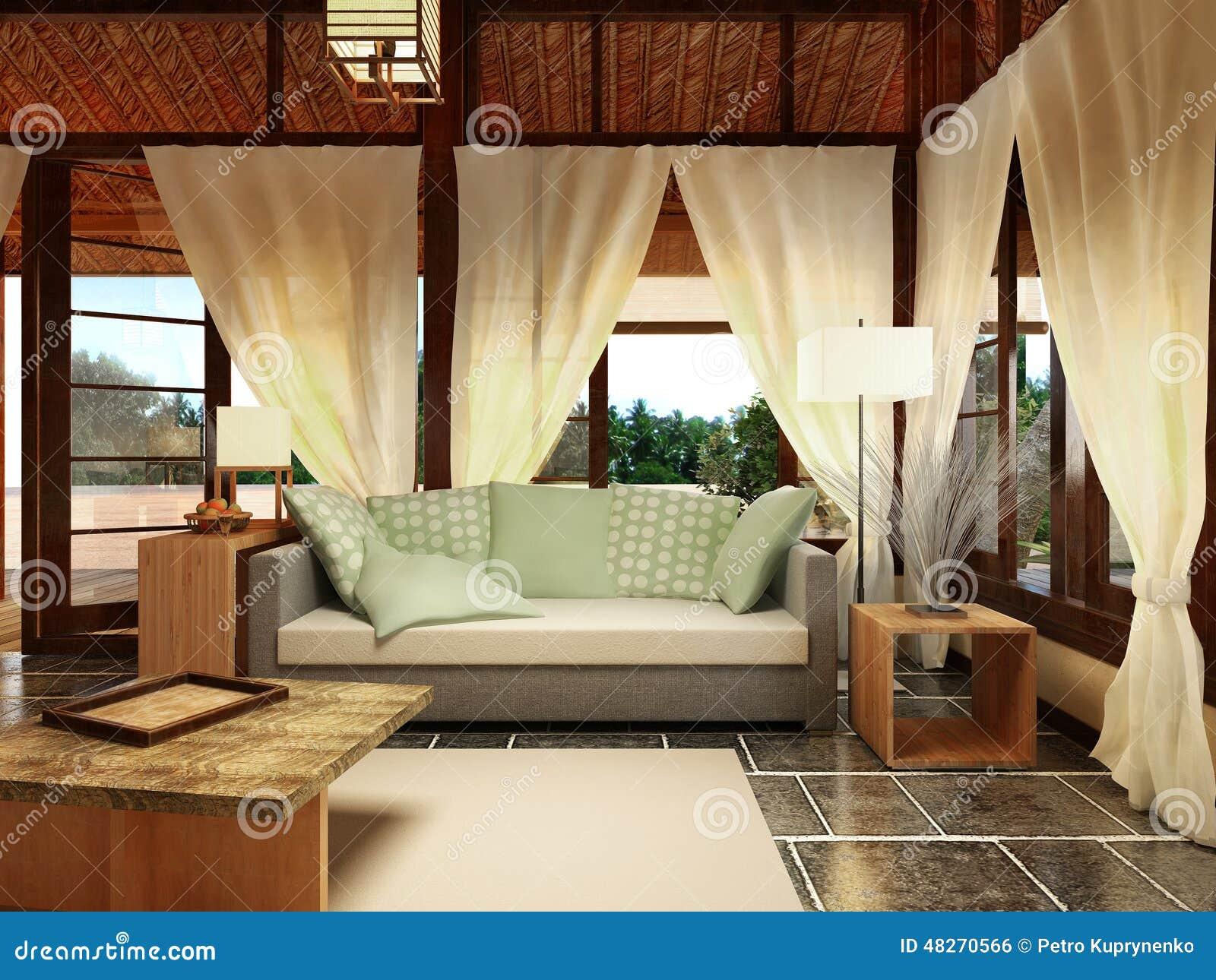 Bungalow-Innenarchitektur stock abbildung. Illustration von stroh ...