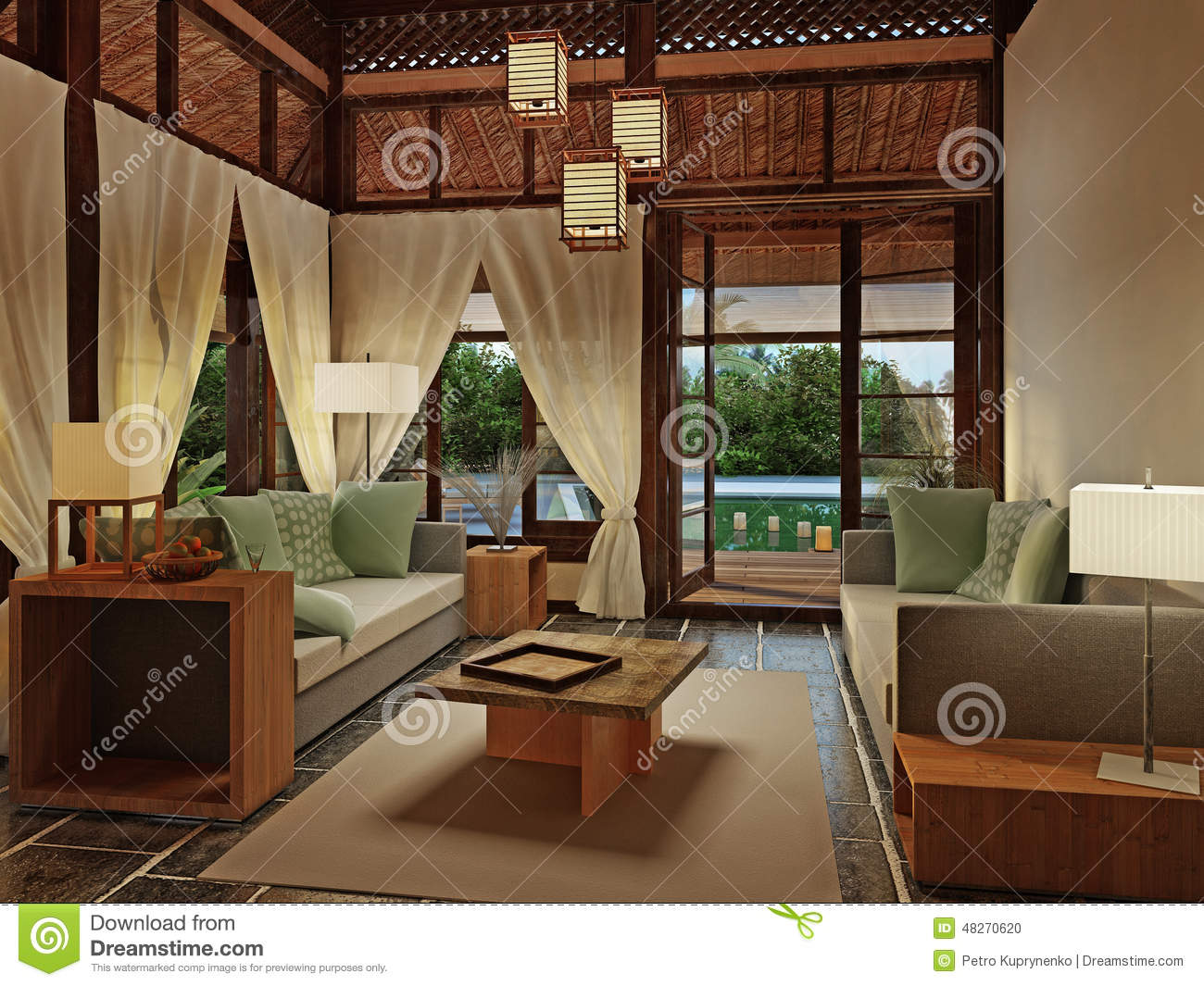 Bungalow Interior Design Stock Illustration Image 48270620