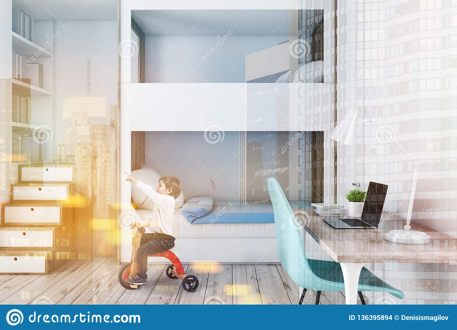 Bunk Bed And Computer Desk Boy Stock Photo Image Of Dormitory Large 136395894