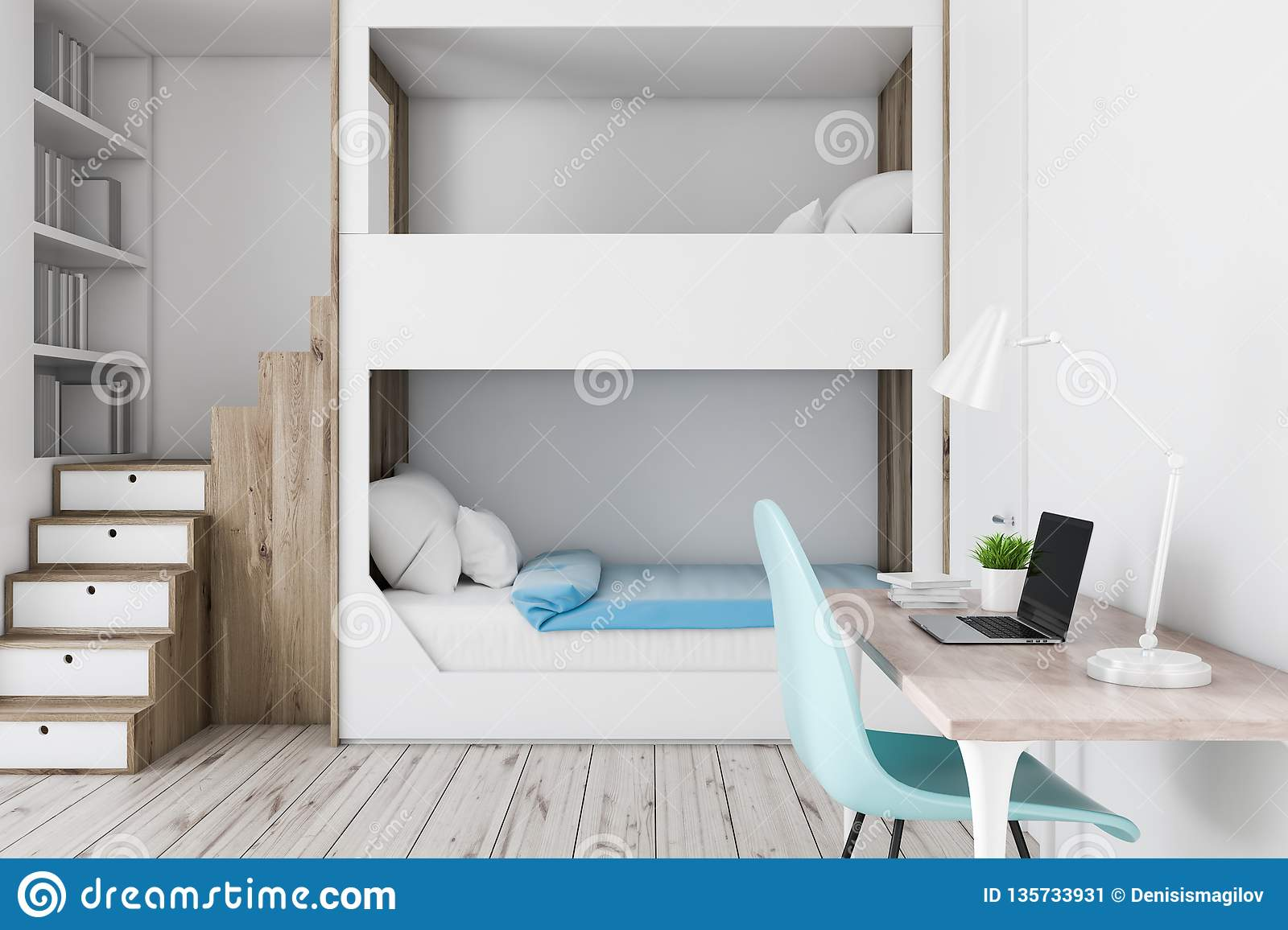 Picture of: Bunk Bed And Computer Desk Stock Illustration Illustration Of Floor 135733931