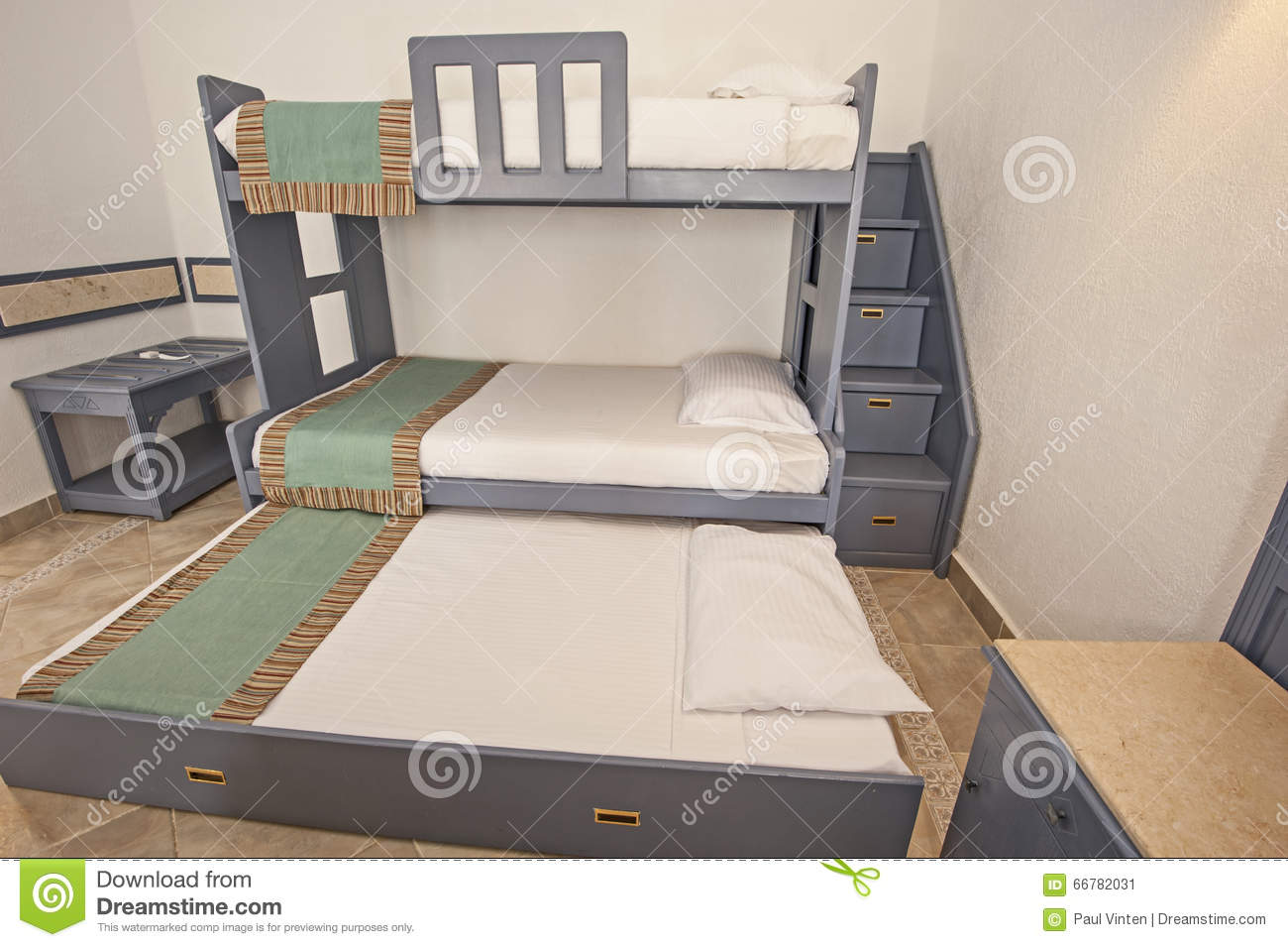 Bunk bed family bedroom concept idea stock photo image for Concept beds