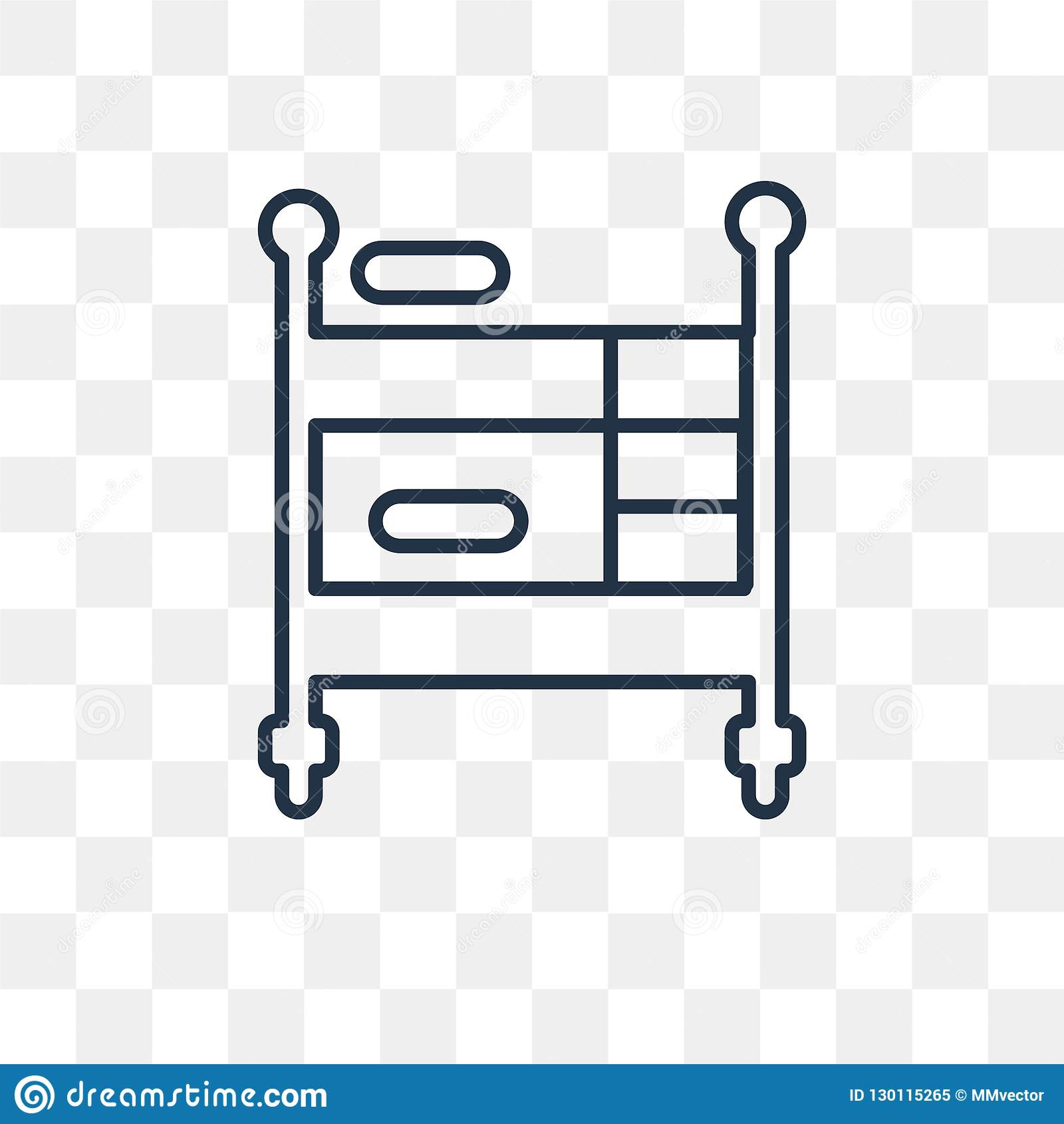 Bunk Bed Vector Icon Isolated On Transparent Background Linear