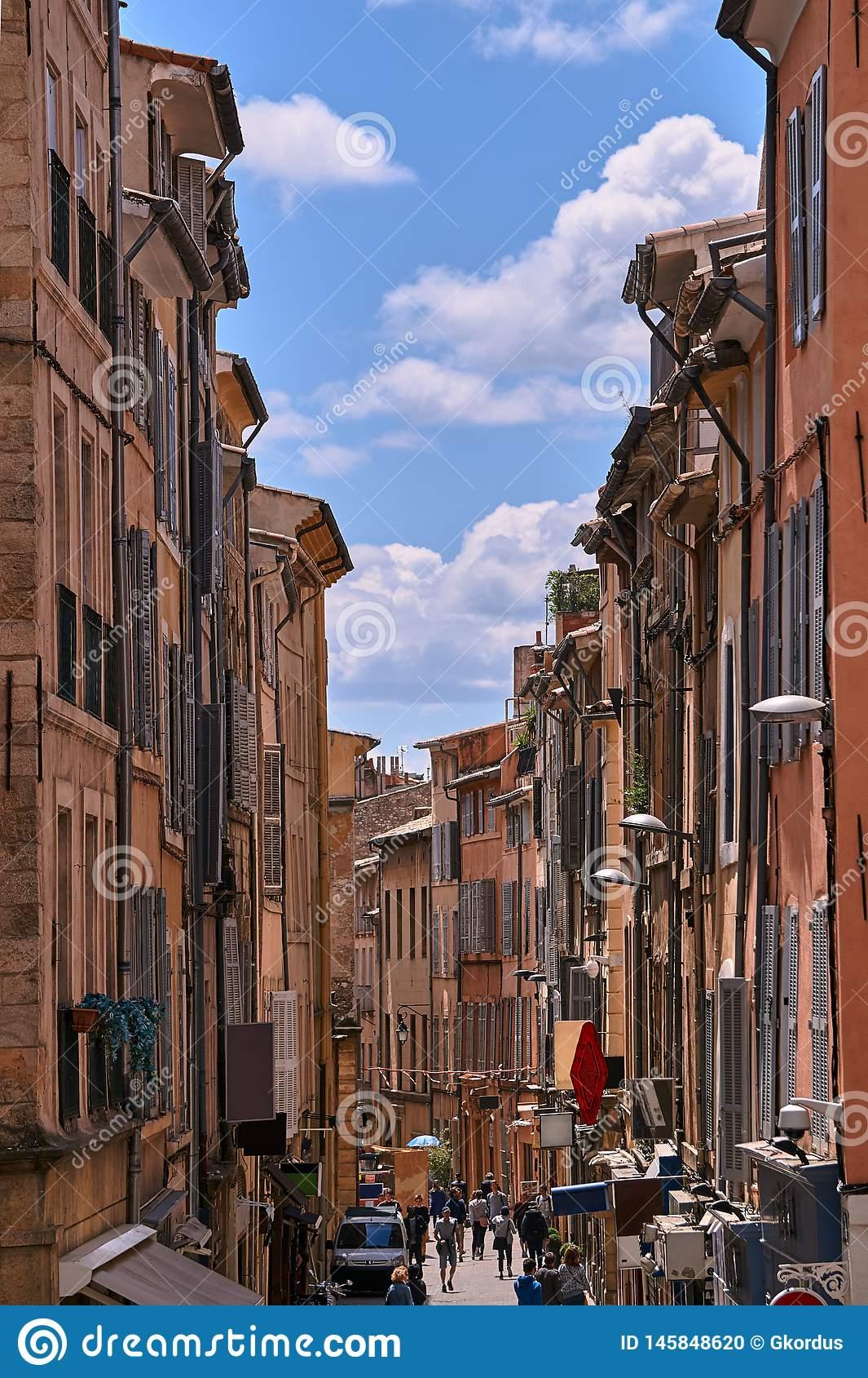 Bunk houses on a narrow street