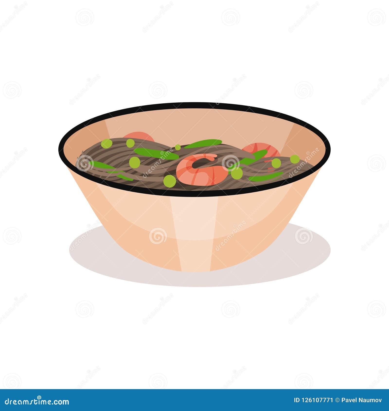 Bunke av den läckra nudeln med räkor Smakligt mål Traditionell maträtt av asiatisk kokkonst Plan vektor för kafémeny eller