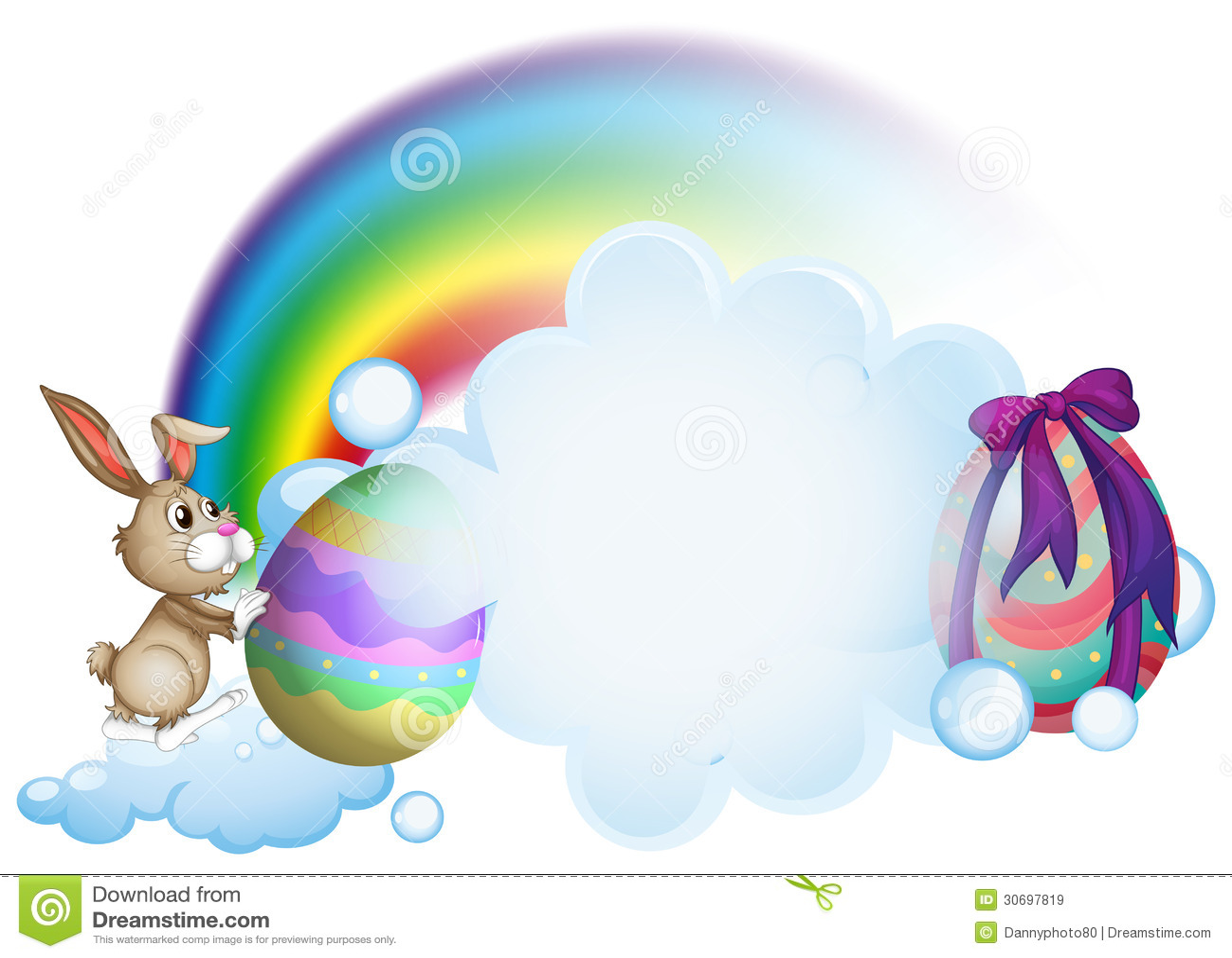A Bunny And The Easter Eggs Near The Rainbow Stock Vector