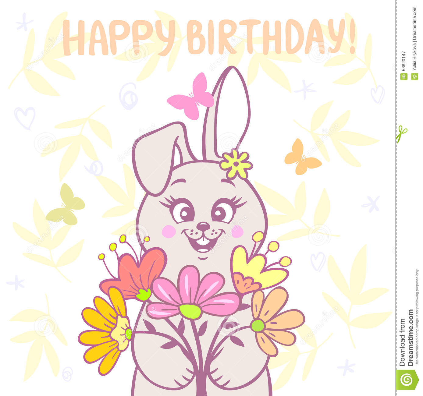 Bunny And Flowers Stock Vector Illustration Of Cute 58620147