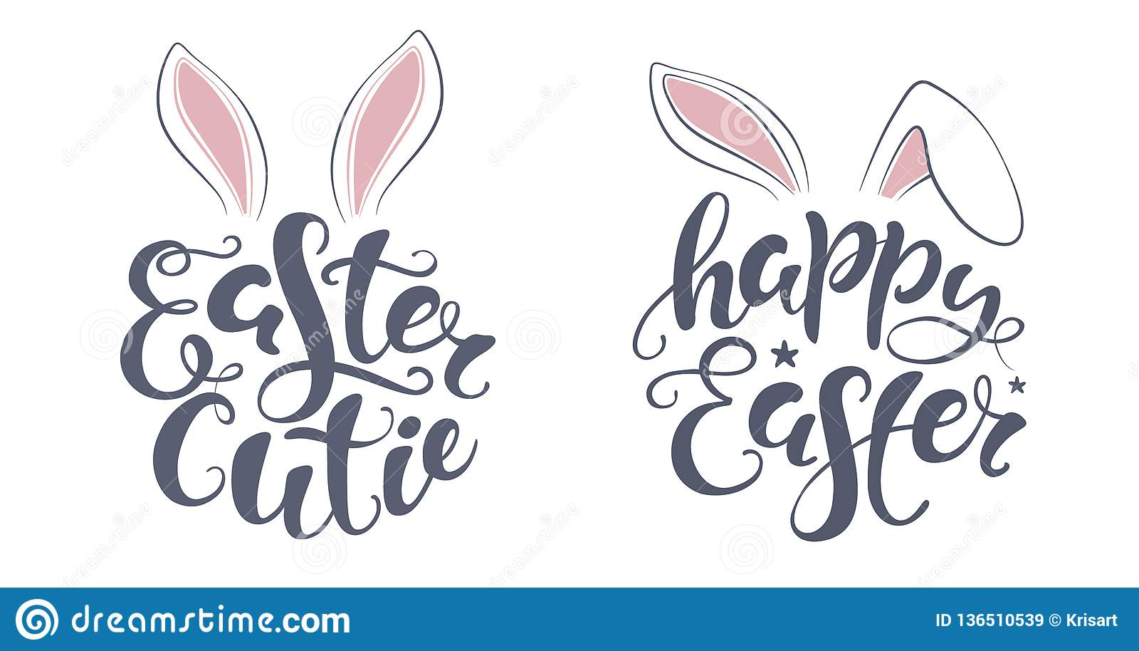 photo about Easter Banner Printable called Vector Content Easter Bunny Lettering Card. Quotation In the direction of Layout