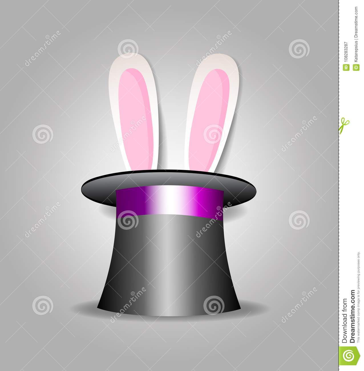 Bunny in magic hat stock vector. Illustration of mystery - 108283287