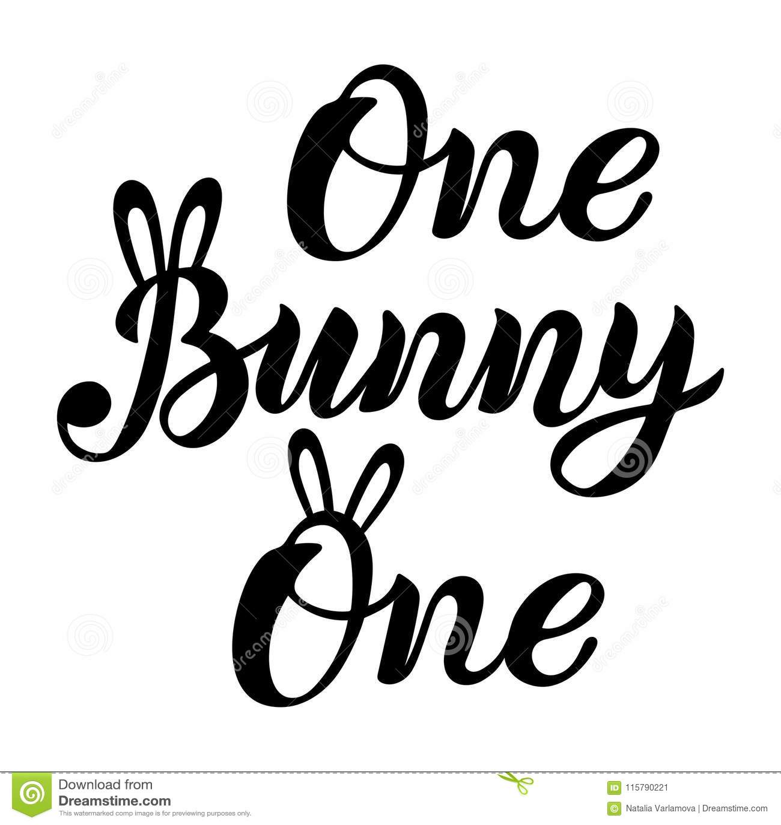 Bunny, One Handwritten Lettering Stock Vector - Illustration