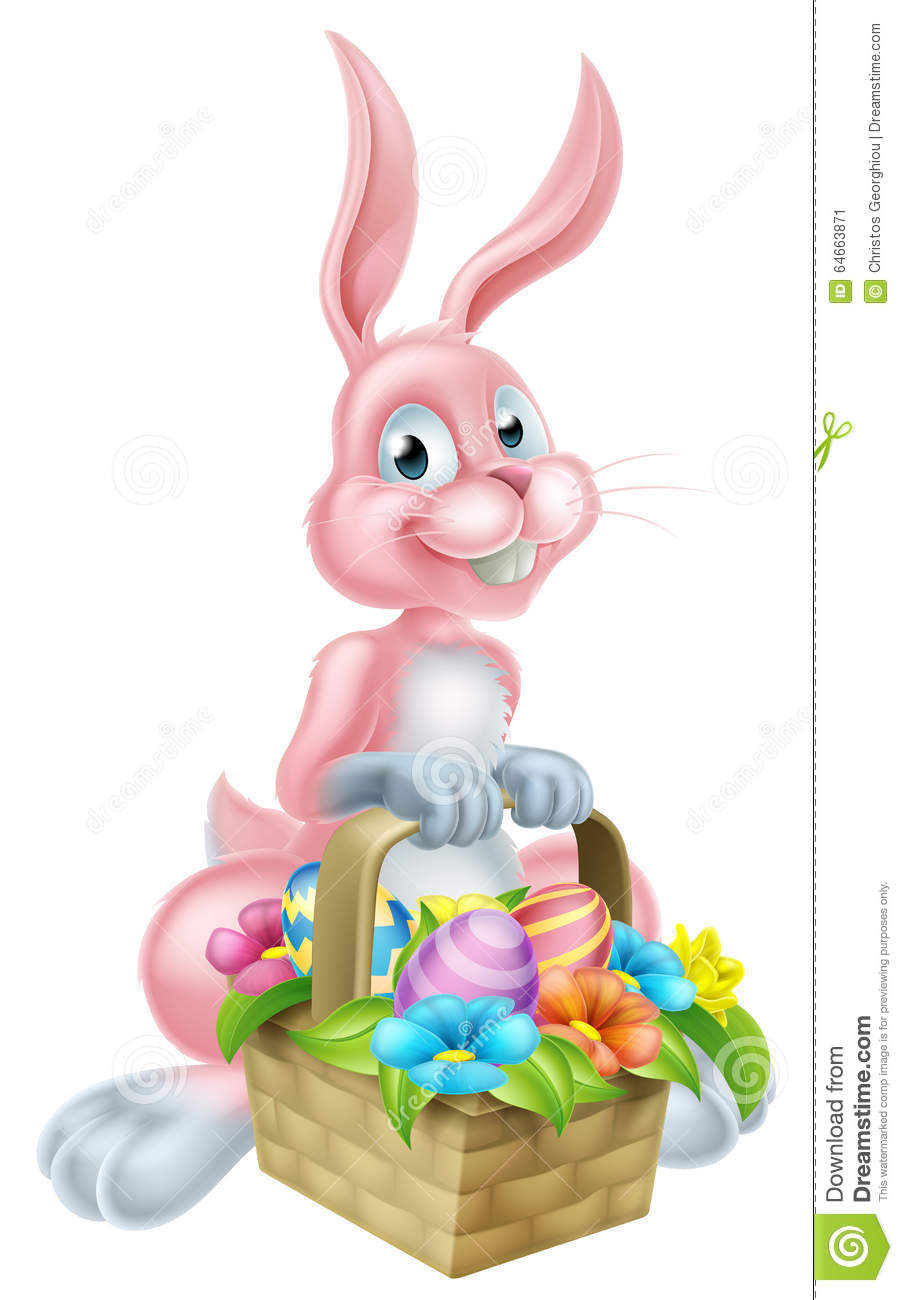 Bunny Rabbit With Easter Basket Stock Vector Illustration Of Eggs
