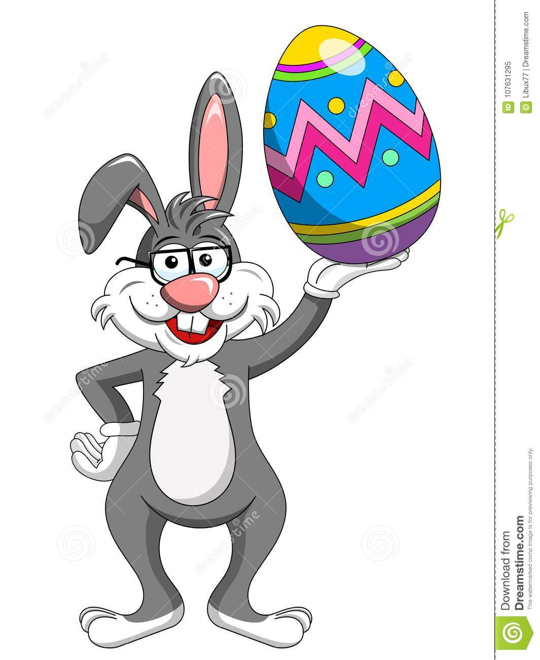 Bunny rabbit wearing glasses holding painted easter egg isolated